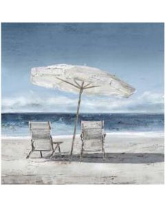 Two Deck Chairs w Umbrella Painting M1
