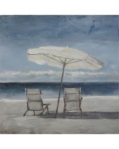 Two Deck Chairs w Umbrella Painting M1  (DUE MID JULY)