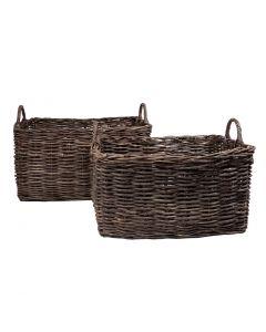 Lge Wood Basket Set2