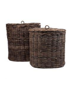 Laundry Basket W Lid Set 2