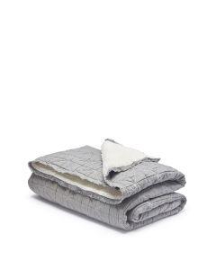 Quilt Sherpa Throw Lt Grey